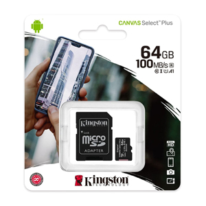 Slika od Memorijska kartica Kingston Select Plus Micro SD 64GB Class 10 UHS U1 100MB/s + SD adapter