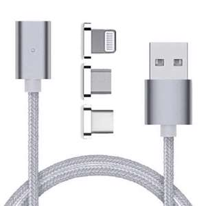 Slika od USB data kabal MAGNETNI 3in1 za Iphone lightning/micro/Type C srebrni 1m