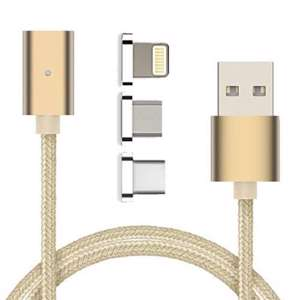 Slika od USB data kabal MAGNETNI 3in1 za Iphone lightning/micro/Type C zlatni 1m