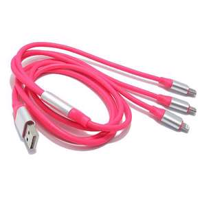 Slika od USB data kabal RUBBER 3in1 (micro/Iphone lightning/type C) pink