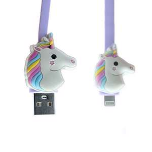 Slika od USB data kabal EMOJI unicorn za Iphone lightning ljubicasti